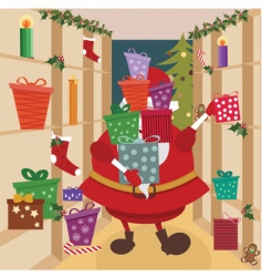 Santa shopping vector
