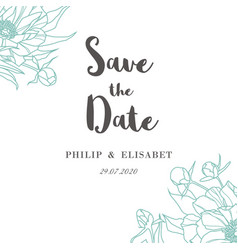 save the date with peonies vintage wedding card vector image