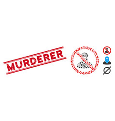 Scratched murderer line seal and collage no ninja vector