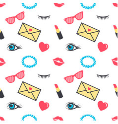 seamless pattern with colorful stickers for girls vector image
