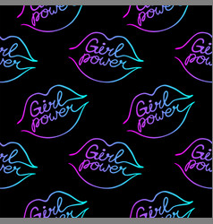 Seamless pattern with lips and girl power quote vector