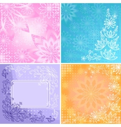 Set abstract floral backgrounds vector image vector image