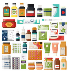 set isolated pharmacy items or medicine drugs vector image