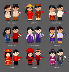 Set of asian pairs dressed in different national vector
