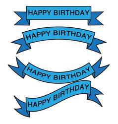set of birthday ribbon vector image