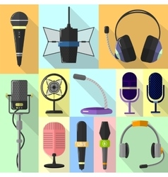 Set of different icons with microphones vector