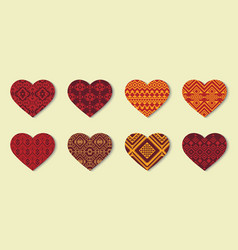set of ethnic hearts with decorative geometric vector image