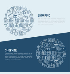 shopping concept in circle with thin line icons vector image