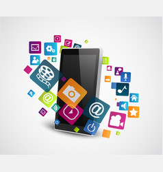 smartphone with colorful application icons vector image