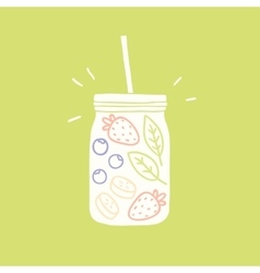 Smoothie jar silhouette with fruits and berries vector image