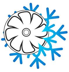 Snowflake cooling fan symbol vector