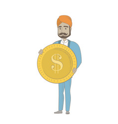 Successful hindu businessman with dollar coin vector