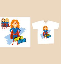 Superhero woman supermom cartoon character vector