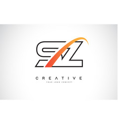 sz s z swoosh letter logo design with modern vector image