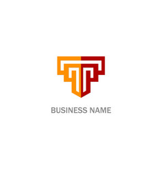 T line shape initial company logo vector