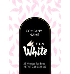 Template packaging white tea company name vector