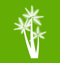 Three tropical palm trees icon green vector