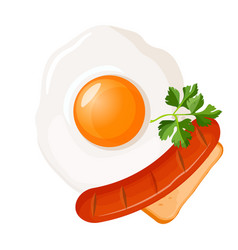Traditional breakfast fried egg with sausage vector