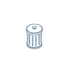 trash garbage isometric icon 3d line art vector image