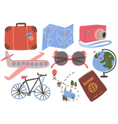 travel objects collection suitcase map camera vector image