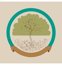 Trendy bright tree label design vector image