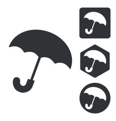 Umbrella icon set monochrome vector image