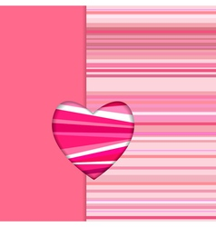 valentine striped card vertical vector image