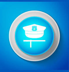 white police cap and rubber baton icon isolated vector image