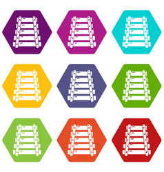 xylophone icons set 9 vector image
