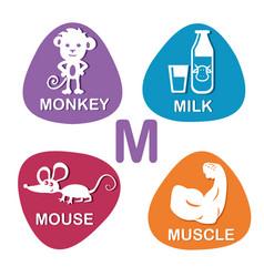 cute alphabet in m letter for monkey milk vector image vector image