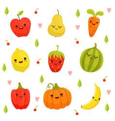 mascot design of cartoon fruits and vector image