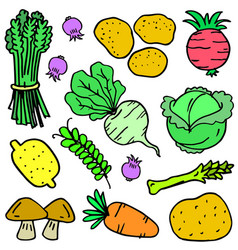 Vegetable object doodles vector
