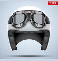 White motorcycle classic helmet with goggles vector image