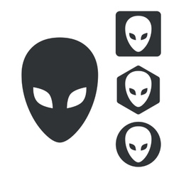 Alien icon set monochrome vector