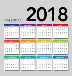 Calendar 2018 week starts from sunday vector