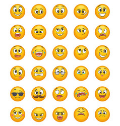 emoticon set with different funny emotions vector image vector image