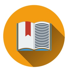 Flat design icon of Open book with bookmark in ui vector image