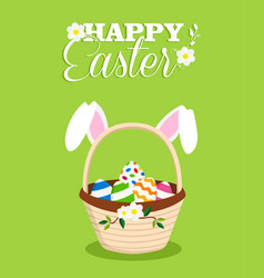 happy easter rabbit in egg basket holiday card vector image