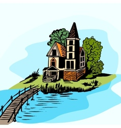 house near the water vector image