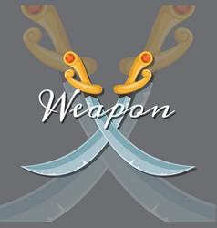 medieval crossed saber vector image