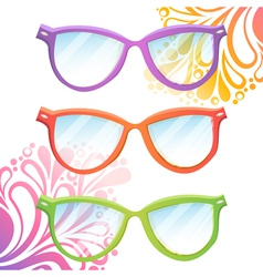 Set of trendy hipster transparent glasses vector image