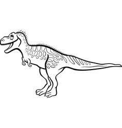 cartoon tarbosaurus dinosaur for coloring book vector image vector image
