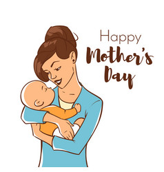 mother with a newborn baby vector image