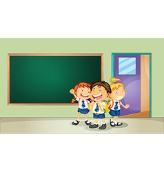 Students and classroom vector image vector image