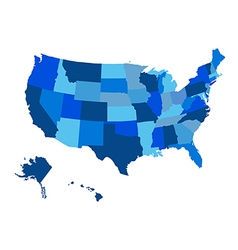 United States blue Map with Alaska region vector image