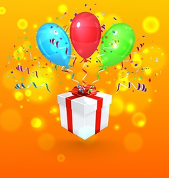 Gift with Confetti and Balloons Background vector image vector image