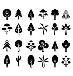 tree icon set 1 vector image vector image