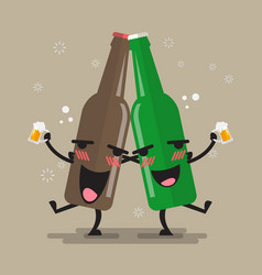 two drunk beer bottle character vector image