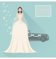 Wedding invitation Bride in lace wedding dress vector image