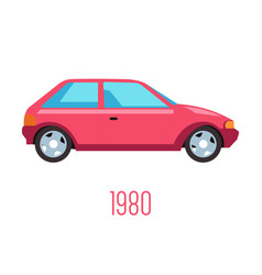 1980s car with two doors isolated icon vintage vector image